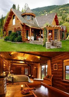 Mediterranean home design 34 Log Cabin Homes, Cottage Homes, Log Cabins, Wooden Cottage, Wooden Houses, Dream House Exterior, Cabins And Cottages, House In The Woods, Future House
