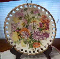Beautiful Vintage Open Edge Collector Plate Zinnia Flowers Plate Hanger Attach.