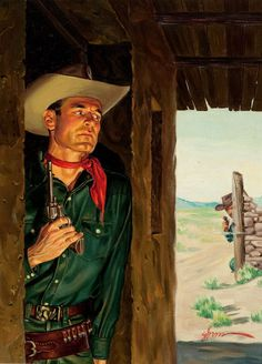 GEORGE GROSS (American, 1909-2003)  Duel on the Range, paperback cover  Oil on canvas laid on board