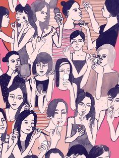 leah reena: Girls putting on makeup