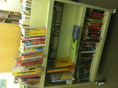 The freebie book cart at Scholastic.
