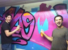 Our guests paint a wall for the first time
