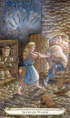 Seven of Wands - The Fairy Tale Tarot by Lisa Hunt Grimm, Tarot Rider Waite, Divine Tarot, Fairytale Art, Tarot Decks, Archetypes, Illustrations, Wands, Fairy Tales