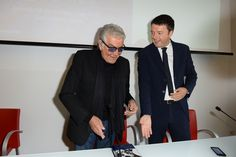 #RobertoCavalli and Matteo Renzi at the #JustMe presentation, this morning in Milan!