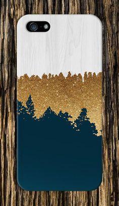 Geometric Gold Glitter Navy Blue White Wood Design Case