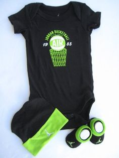 "Nike Jordan Infant New Born Baby Boy/Girl Shoulder Bodysuit, Booties and Cap 0-6 Months with ""Jordan Basketball"" & ""Flyin since 1985"" Sign One Set 3 Piece Set $29.99"
