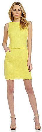 Calvin Klein Sleeveless Tweed Hopsack Sheath Dress