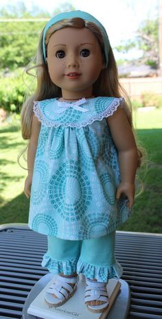 """18"""" Doll Clothes Cute, Comfy Outfit For Summer Fits American Girl Tenney, Luciana,"""