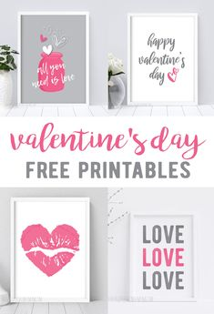 Pink + Gray Valentine's Day Printables - little blonde mom - Free Valentine's Day Printables Valentines Day Office, Kinder Valentines, Valentines Bricolage, Valentines Day Funny, Valentines Gifts For Boyfriend, Valentines Day Shirts, Valentine Day Love, Valentine Day Crafts, Printable Valentine