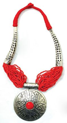Beaded Tribal Necklace Red