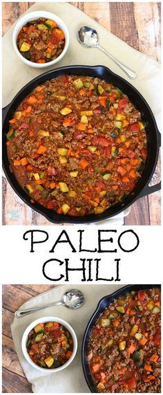paleo chili recipe is even better than the traditional kind. It's hearty, filling and full of flavor.This paleo chili recipe is even better than the traditional kind. It's hearty, filling and full of flavor. Chili Recipes, Diet Recipes, Cooking Recipes, Healthy Recipes, Recipes Dinner, Primal Recipes, Crohns Recipes, Tilapia Recipes, Tofu Recipes