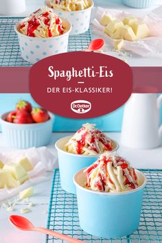 Spaghetti-Eis Spaghetti ice cream: The delicious ice cream classics from vanilla ice cream, cream and strawberry sauce Dessert Oreo, Oreo Dessert Recipes, Strawberry Dessert Recipes, Strawberry Sauce, Just Desserts, Spaghetti Ice Cream, Food Tags, Ice Ice Baby, Ice Cream Desserts