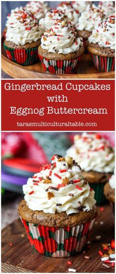 Gingerbread Cupcakes with Eggnog Buttercream - Tara's Multic.-Gingerbread Cupcakes with Eggnog Buttercream – Tara's Multicultural Table - Gingerbread Cupcakes, Christmas Cupcakes, Christmas Sweets, Christmas Cooking, Christmas Deco, Christmas Time, Winter Cupcakes, Snowman Cupcakes, Italian Christmas