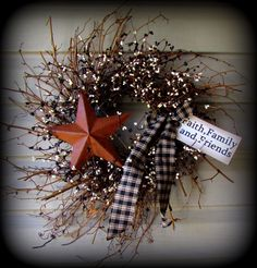 """Farmhouse Black and White Pip Berry Wreath 24""""- Ribbon and Tag -NEW-"""