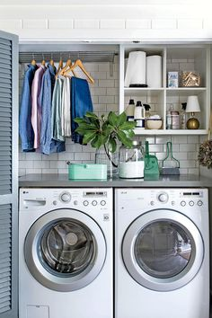Limit Your Laundry - 10 Shortcuts to an Organized Home - Southernliving. Believe it or not, sometimes the lack of a sprawling laundry room can be a blessing in disguise. Housing a front-loading washer and dryer in a wide closet—where louvered doors can close at any time to conceal the dirty work—creates an efficient, hard-working space with limited junk zones. A compact space like this demands good clutter management