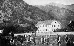 Husmenn tar opp poteter på gården Moen i Kviteseid i Telemark. Bildet er tatt av gårdeieren selv, en gang mellom 1850 og 1880. Foto: Christian Munthe/Norsk Folkemuseum