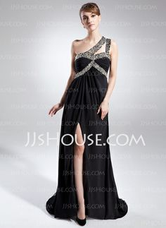 Mother of the Bride Dresses - $151.49 - A-Line/Princess One-Shoulder Sweep Train Chiffon Mother of the Bride Dress With Beading (008015845) http://jjshouse.com/A-Line-Princess-One-Shoulder-Sweep-Train-Chiffon-Mother-Of-The-Bride-Dress-With-Beading-008015845-g15845
