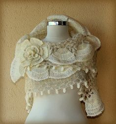 Pearl of Bosphorus/ Ivory Gold Wedding Shawl /  by lilithist, $135.00