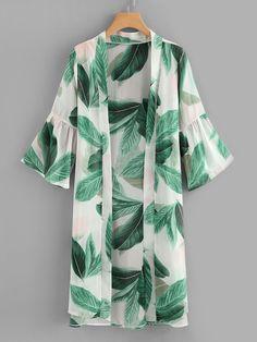 Stagioni Fashion for Women, Resortwear and Beachwear for Women. Item: Leaf Print Flounce Sleeve Kimono for Women Kimono Outfit, Casual Hijab Outfit, Kimono Cardigan, Kimono Fashion, Hijab Fashion, Fashion Clothes, Kimono Top, Fashion Dresses, Trendy Clothing