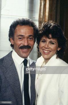 Bruce Weitz as Det. Mick Belker, Lisa Sutton as Officer Robin Tataglia on Hill Street Blues.