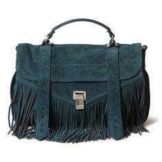 Proenza Schouler Medium PS 1 Fringe Suede Bag ($1,885) ❤ liked on Polyvore featuring bags, handbags, shoulder bags, kirna zabete, blue suede purse, purse, blue handbags, suede leather handbags and blue purse