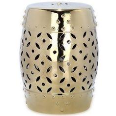 Safavieh 18.5-In Gold Ceramic Barrel Garden Stool Acs4510d