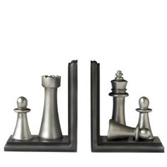 Amazon.com - Elements 6-Inch Silver Chess Bookends - Decorative Bookends