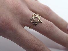 HIM Heartagram Star Heart Band Logo Ring Size 5 13 by Shekhtwoman