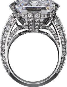"""CARTIER. """"Illumination"""" Ring - white gold, one 31.16-carat D IF emerald-cut diamond, one 0.80-carat D VS2 and one 0.77-carat D VVS1 trapezoid-shaped step-cut diamonds, carved rock crystal,  #Diamond"""