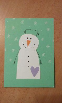 Vianočná pohľadnica snehuliak 2