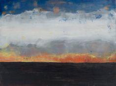 "Encaustic Landscape Painting   ""New Mexico Sunset"""