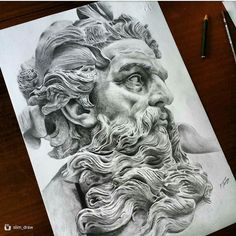 Pencil inspiration for pen drawing, for tattoo Poseidon Tattoo, Tattoo Sketches, Tattoo Drawings, Zues Tattoo, Tatto Ink, Greek God Tattoo, Greek Mythology Tattoos, Statue Tattoo, Fantastic Art