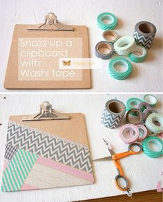 DIY Washi Tape Projects and Patterns. Designer Clipboard craft project.