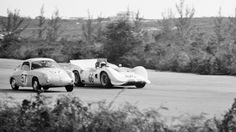 One of the factors contributing to the end of the annual Nassau speed week was the differing classes of cars that ran in the major events. The inevitable speed difference was becoming too dangerous. Here' Jim Hall's Chaparral 2C passes a much slower Fiat Abarth during the 1965 Nassau Trophy race. All Bochroch photo, restored and cropped.