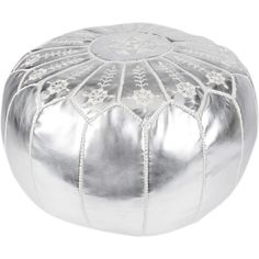 Showcasing a Moroccan motif and metallic silver hue, this handmade leather pouf is perfect as an extra seat or exotic footrest.  Pro...