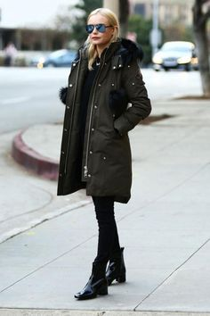 Kate Bosworth wearing Westward Leaning Concorde 3 Sunglasses and Moose Knuckles Stirling Parka in Camo