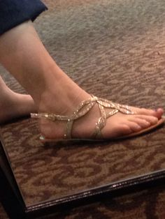 Another shot of my shoes. It would be great if everyone could find comfy, open-toed, gold or shiny shoes/sandals/flip flops.