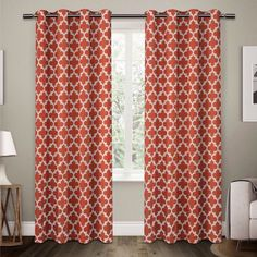 "Neptune Cotton Window Curtain Panel Pair Mecca Orange (54""x108"") - Exclusive Home"