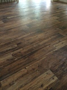"Love these wood tile floors! Ceramic Wood Tile Floors - called ""Larex"" and the color is ""Sun"". Ceramic Wood Tile Floor, Wood Tile Floors, Kitchen Flooring, Hardwood Floors, Wood Look Tile Floor, Basement Flooring, Laminate Flooring, Tile Looks Like Wood, Wood Tile Bathroom Floor"
