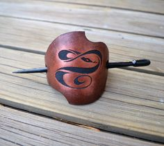 Leather Barrette with Pyrography - Barrette with Stick - Hair barrette…