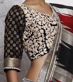 A banarasi georgette blouse with dori embroidery