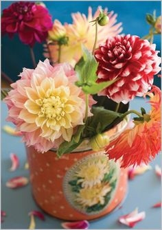Cut Dahlias in antique Tin Can