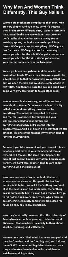 How men and women think differently !