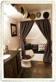 bathroom/changing area (so excited for my bathroom. I like the idea of seating here to cover the bath tub)