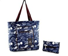 Foldable Tote Bag for Women-Top Zipper Closure Premium Quality Lightweight Cute (Blue/White) Shanta Best Travel Bags, Best Tote Bags, Cute Tote Bags, Reusable Tote Bags, Beach Items, Hospital Bag, Gifts For Girls, Bag Sale, Gift Bags