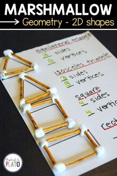 This marshmallow geometry 2D shape activity is an engaging STEM activity for young learners. Kids will love building shapes with food materials and exploring each shapes sides, and vertices. #shapegames #STEMshapes Second Grade Math, First Grade Math, Grade 2, Third Grade, Sixth Grade, 1st Grade Science, Learning Shapes, Learning Spanish, Spanish Lessons