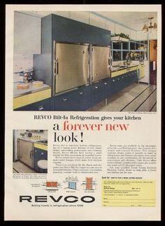 1959 Blue Revco Refrigerator Modern Kitchen Color Photo Vintage Print Ad | eBay