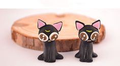 Black Cat Post Earrings Eyes HandMade Polymer Clay 3D Pink/Brown Lovely Sailor Moon Animal Geek Gamer Gift for Her Woman Cute Miniature Sale by spektrodesign. Explore more products on http://spektrodesign.etsy.com