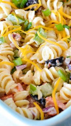 Bacon Ranch Pasta Salad ~  It's light and makes a great potluck meal.