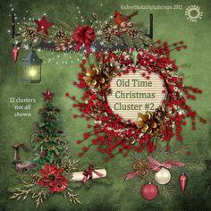 Old Time Christmas Cluster Set  2 - Digital Scrapbooking